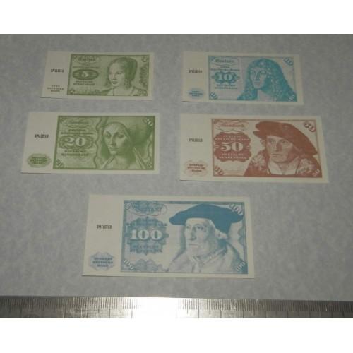 5 Duitse speelgeld biljetten - klein