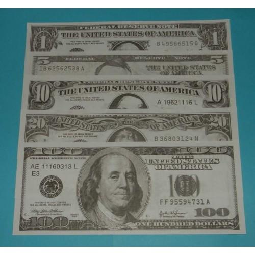 5 Amerikaanse speelgeld billetten - groot - set B