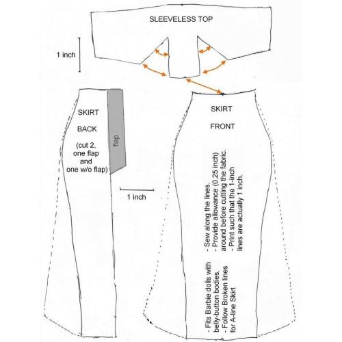 Broek en mouwloos topje voor Barbie - knippatroon