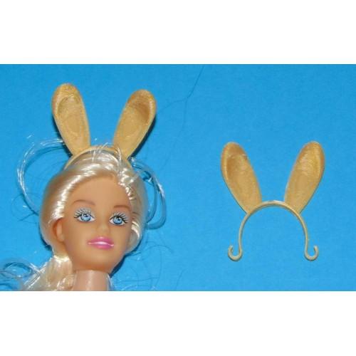 Goudkleurige bunny oren hoofdband voor Barbie etc.