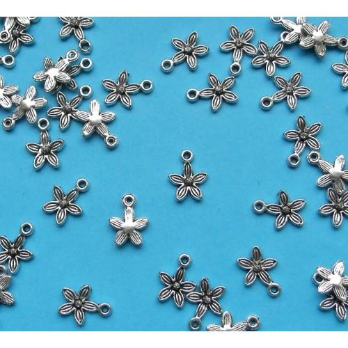 Bloem bangle, Tibet zilver, model D - 10 stuks