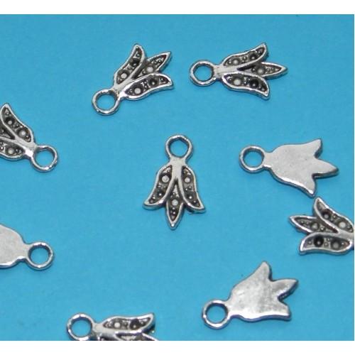 10 Bloem bangles - Tibet zilver - model F
