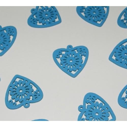 Houten hart bangle, blauw - 10 stuks