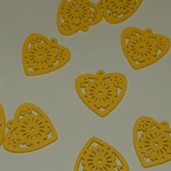 Houten hart bangle, geel