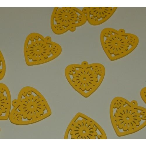Houten hart bangle, geel - 10 stuks