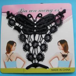 Zwarte beha bandjes met kanten vlinder - model C