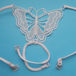 Roze beha bandjes met kanten vlinder, model D