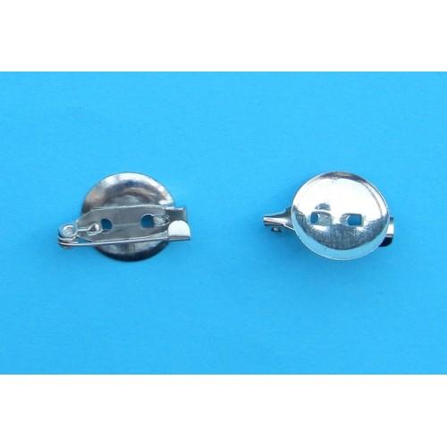 Broche speld, rond, zilverkleurig, 15mm