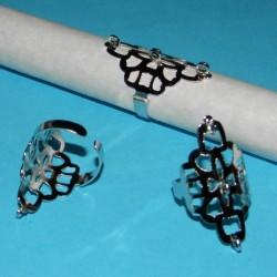 Grote zilveren ring om zelf te decoreren, verstelbaar