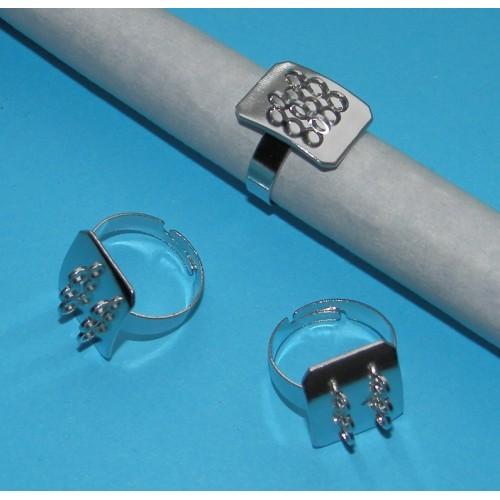 10 Ringen om zelf te decoreren - zilver - met lusjes - model B