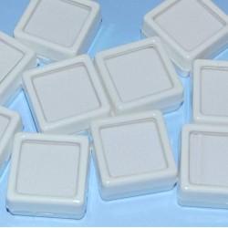 Mineralen showdoosje, wit, 30x30mm, nieuw, met kussentje