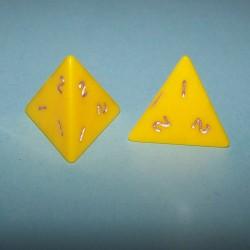Stel 4-zijdige dobbelstenen, geel