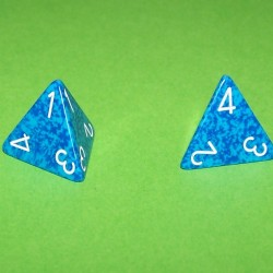 Stel 4-zijdige dobbelstenen, blauw steen effect