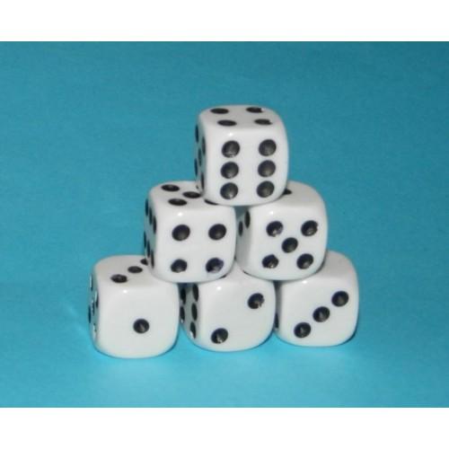 6 Dobbelstenen, wit, 16mm