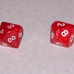 Set percentage dobbelstenen, rood, model B