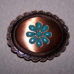 Dames Western buckle - brons met turquoise