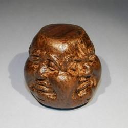 Boeddha hoofd, 4-zijdig, buxushout