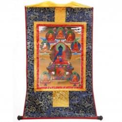 Medicijnboeddha en 8 Yidams thangka, zijde op brokaat