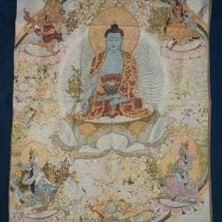 Boeddha thangka, brokaat, 90x60cm