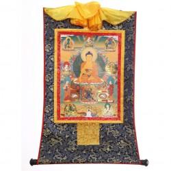 Sakyamuni Boeddha thangka, zijde op brokaat, 20,5x16cm