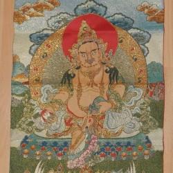 Gele Jambhala thangka, brokaat, 60x40cm