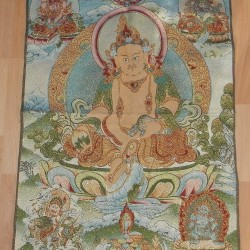 Gele Jambhala thangka, brokaat, 90x60cm