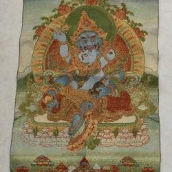 Groene Jambhala thangka, brokaat, 60x40cm