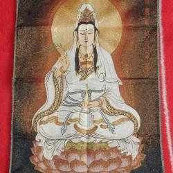 Kwan-jin thangka A, brokaat, 60x40cm