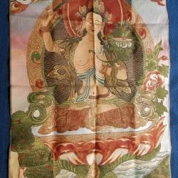 Kwan-jin thangka B, brokaat, 90x60cm