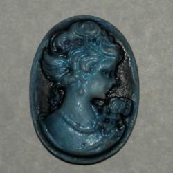 Camee - diep blauw - 31x22mm