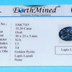 Lapis Lazuli CME - Moghul gesneden - 30x23mm - certificaat