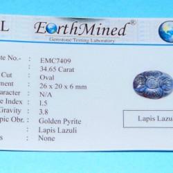 Lapis Lazuli CMF - Moghul gesneden - 26x20mm - certificaat