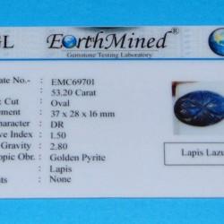 Lapis Lazuli GMB - Moghul gesneden - 37x28mm - certificaat