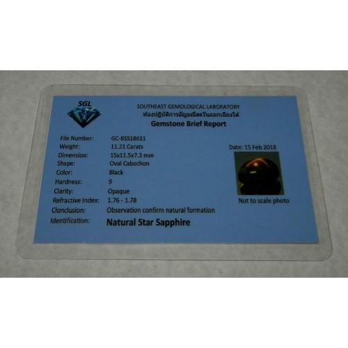 Ster Saffier - Thailand - steen Q - 15x11,5mm - certificaat