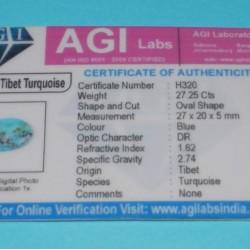 Turkoois cabochon CC - Tibet - 27x20mm - met certificaat