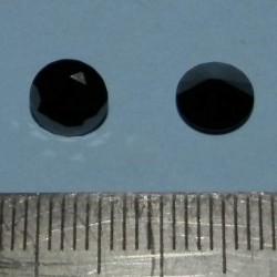 2 Zwarte Moissaniet stenen - rond geslepen - 6,6mm