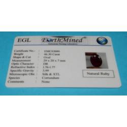 Robijn GCL - chakarat ovaal - 29x20mm - met certificaat
