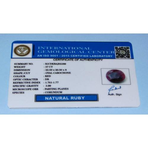 Robijn GDF - ovaal geslepen - 22,5x20,5mm - met certificaat