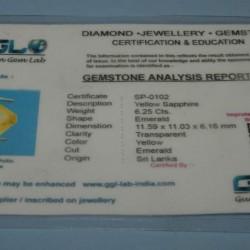 Gele Saffier GCP - emerald gesl. - 11,6x11mm - certificaat