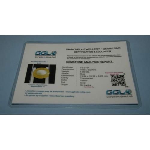 Gele Saffier GCT - ovaal gesl. - 13,8x10,5mm - certificaat