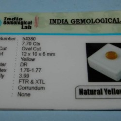 Gele Saffier GCV - ovaal gesl - 12x10mm - met certificaat