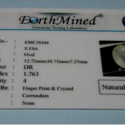Gele Saffier GCW - ovaal gesl. - 12,7x10,7mm - certificaat