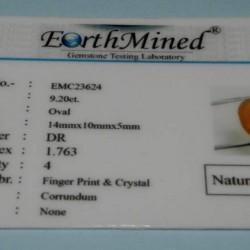 Gele Saffier GCY - ovaal geslepen - 14x10mm -met certificaat