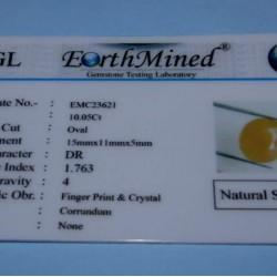 Gele Saffier GCZ - ovaal geslepen - 15x11mm - met certificaat