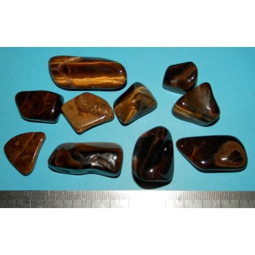 10 Tijgeroog stenen - lot F - 127,1 gram