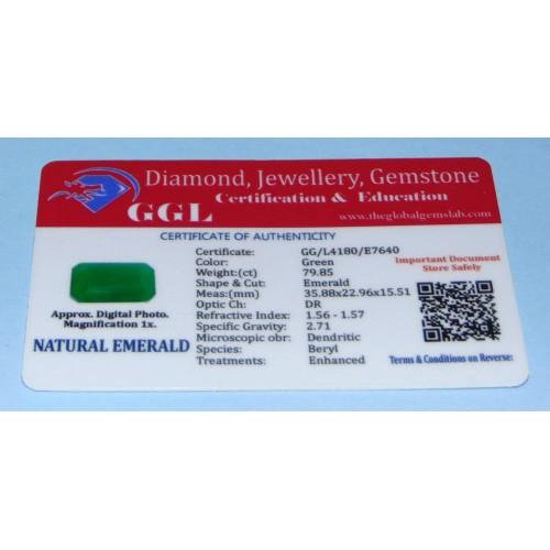 Smaragd GLU - emerald geslepen - 35,9x23mm