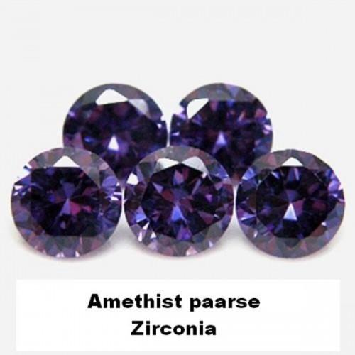 Amethist paarse Zirconia - 4mm - briljant geslepen - 10 st.