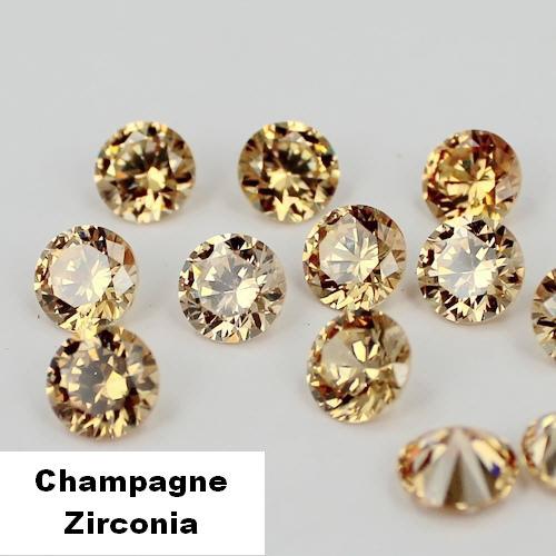 Champagne Zirconia - 5mm - briljant geslepen - 10 stuks
