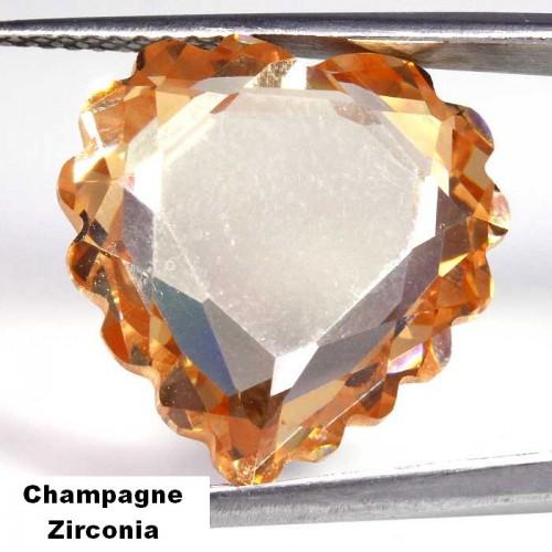 Champagne Zirconia hart - 17x18mm