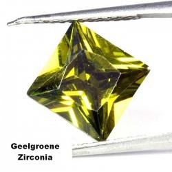 Geelgroene Zirconia - 10mm - prinses geslepen